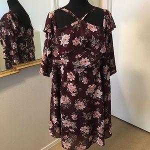 Wine Floral Off Shoulder Dress